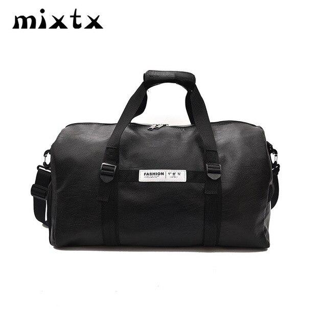 68dd467913e9 US $8.32 43% OFF|HOT SALE Women men Unisex Travel bag 2018 New Handbag  Beach Shoulder Bag Crossbody bag PU Large Capacity Fashion Duffel  Package-in ...