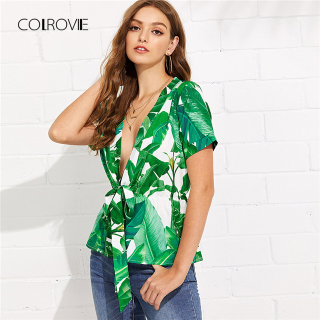 40617a027e0 COLROVIE Self Tie Front Tropical Print Blouse Shirt 2018 New Summer Deep V  Neck Top Green