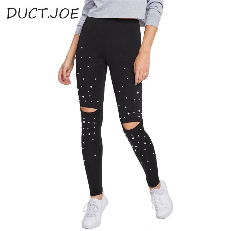 DUCTJOE Fashion   Leggings   For Womens Pearl Beading Knee Open   Leggings   Fitness Women Black Workout Casual Scrunch Butt   Leggings