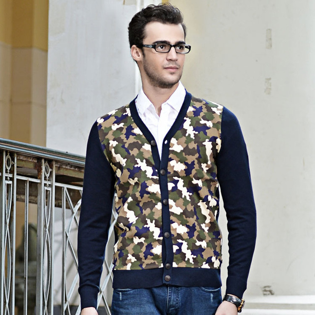 Camouflage Fancy Knit Mens Cardigan Sweater Vintage Russia Style