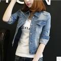 2017 spring and autumn women's jacket plus size denim outerwear slim long-sleeve jacket short design top coat female