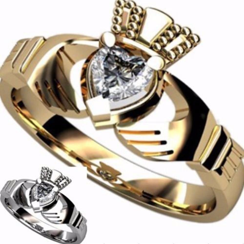 حجم 5 6 7 8 9 10 الفولاذ المقاوم للصدأ كلاداغ خاتم القلب زفاف خطوبة الذكرى الأيرلندية كوكتيل عيد ميلاد الذكرى