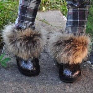 Image 3 - Çocuk çizmeleri kız erkek ayakkabı kalın sıcak hakiki deri çocuk kar ayakkabıları moda gerçek kürk yürümeye başlayan çocuk çizmeleri kışlık botlar