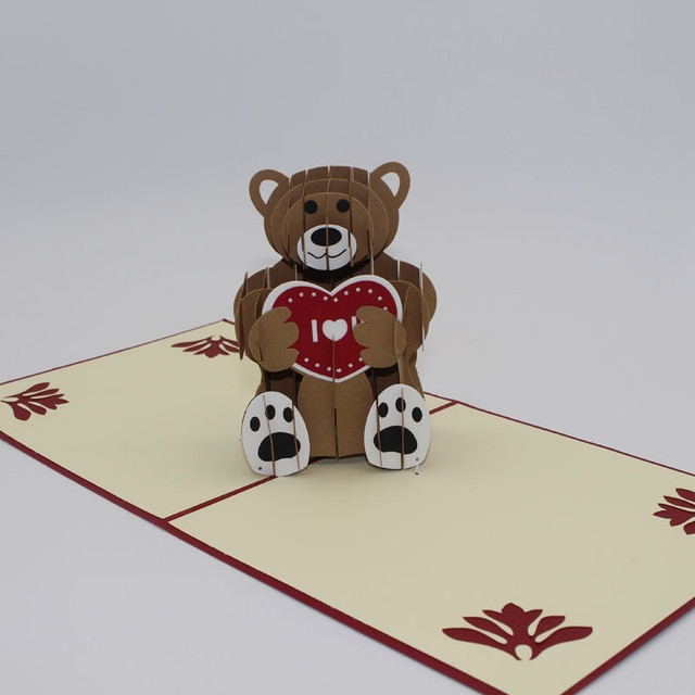 Teddy bear 3d laser cut pop up custom greeting cards printing teddy bear 3d laser cut pop up custom greeting cards printing handmade birthday designs wishes party m4hsunfo