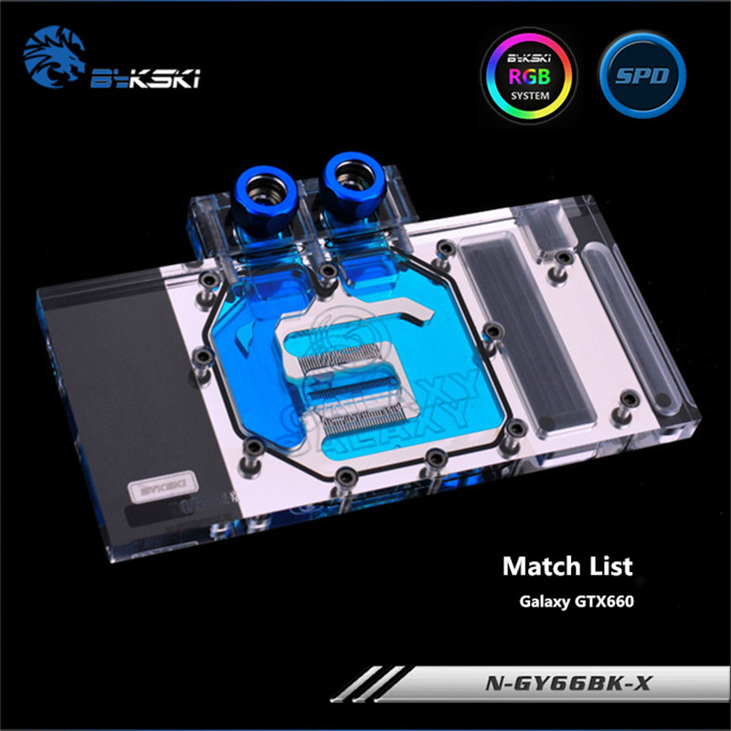 Bykski Full Coverage GPU Water Block For Galaxy GTX660 Graphics Card N-GY66BK-X computador cooling fan replacement for msi twin frozr ii r7770 hd 7770 n460 n560 gtx graphics video card fans pld08010s12hh