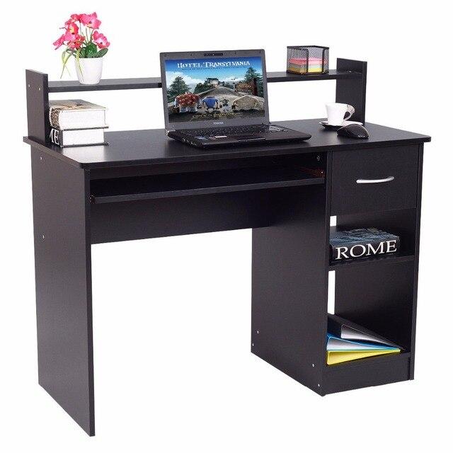 Giantex Modern Wood Computer Desk Workstation With Drawer & Shelf ...