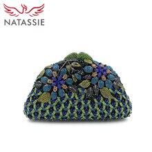 Natassie mode abendhandtaschen frauen luxury floral party handtasche dame hohe qualität hochzeit geldbörse mit kette