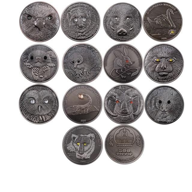 13 piezas Mongolia en peligro de vida salvaje juego de monedas de bronce conmemorativo Animal moneda adornos de Navidad desafío moneda