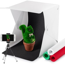 купить mini Folding Lightbox Photography Studio Softbox LED Light Soft Box Camera photo studio box Background with Tripod Stand Holder дешево