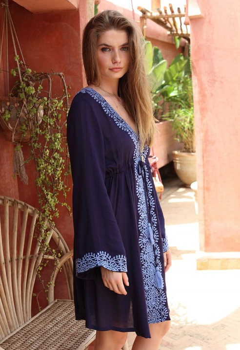 Sports & Entertainment Beach Dress Woman Robe Plage Blanket Cover Up Tunic For Womens Summer Lace New Long Sleeve Blue Cotton Embroidered Swimsuit