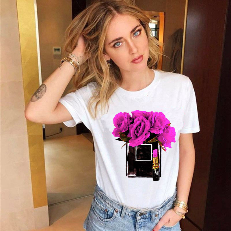 Harajuku T Shirt Fashion Flowers Bottle Graphic Print Tees Female Streetwear Tops New Camiseta Mujer