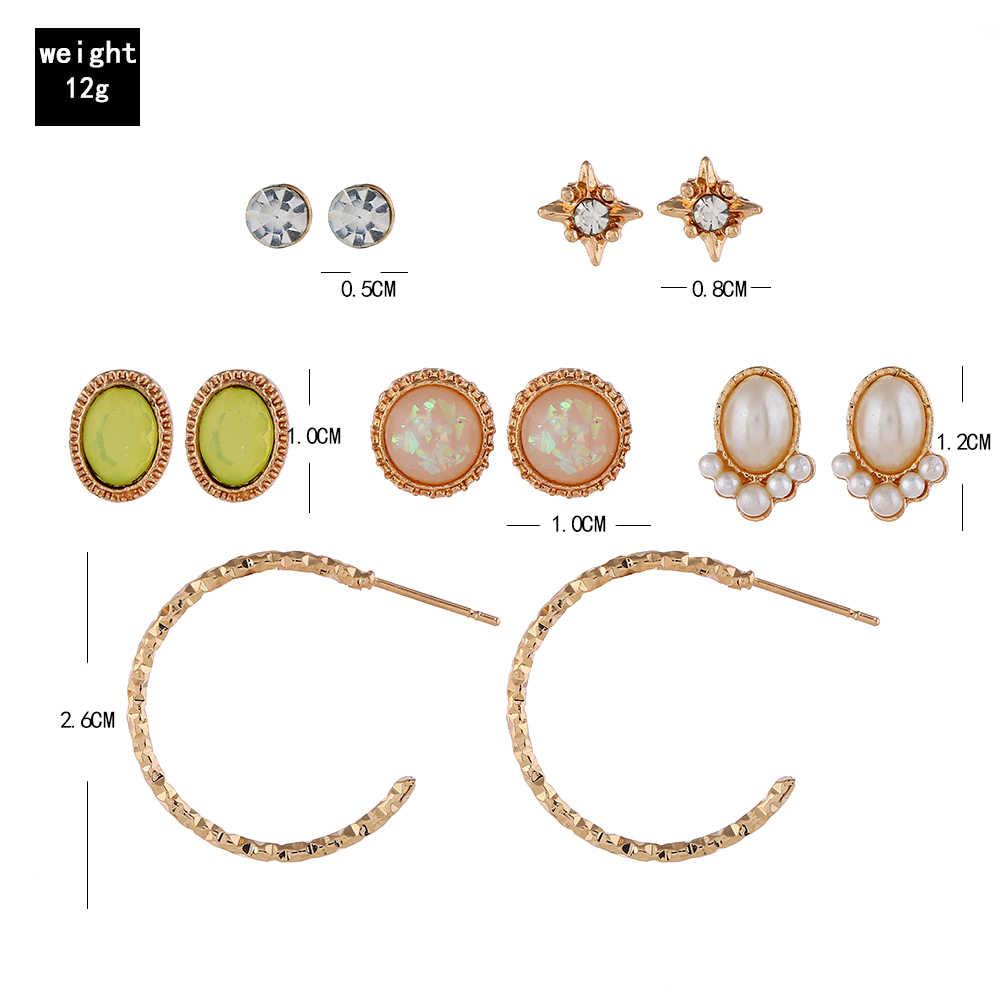 XIYANIKE 6 paare/satz Mode Grünen Edelstein Big C sharp Gold Ohrringe Set für Frau Zubehör Stud Ohrring Boho Schmuck E120