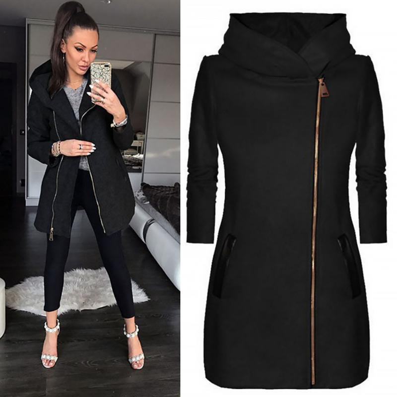 Women Fashion   Basic     Jackets   Long Sleeve Slim Side Open Hoodie Zip Front gray Coat Casual black Coat Outwear Long   Jacket
