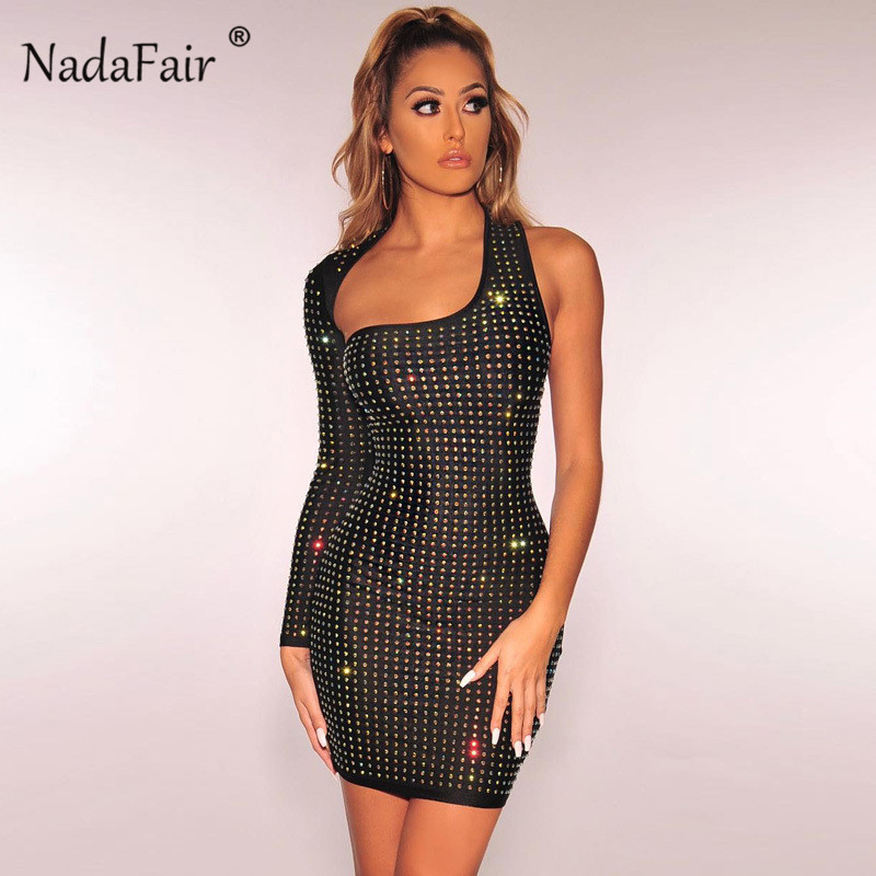 9d81e172b60 Nadafair one shoulder women sexy club party dress spring long sleeve sequin  mini bodycon dress black