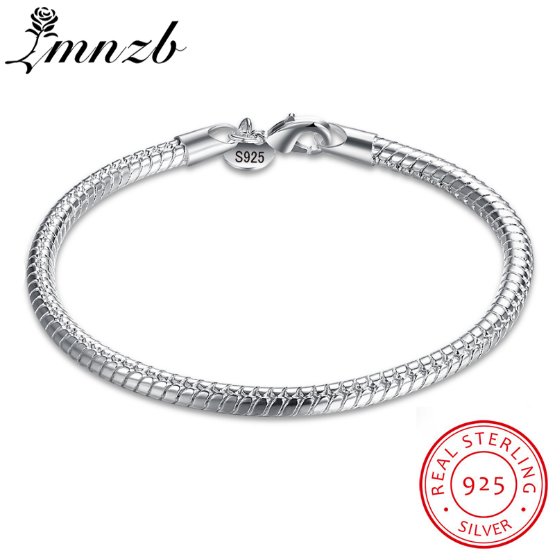 LMNZB 100% Original 925 Sterling Silver Charm Bracelet Fashion Wedding Jewelry Smooth Snake Bracelets for Women Gift HB001
