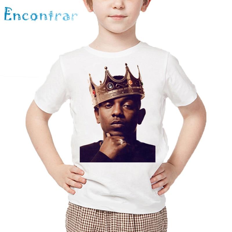 Original Kids American Rapper Kendrick Lamar Print T Shirt Boys And Girls Hip Hop Swag T-shirt Children Summer White Tops,hkp4119