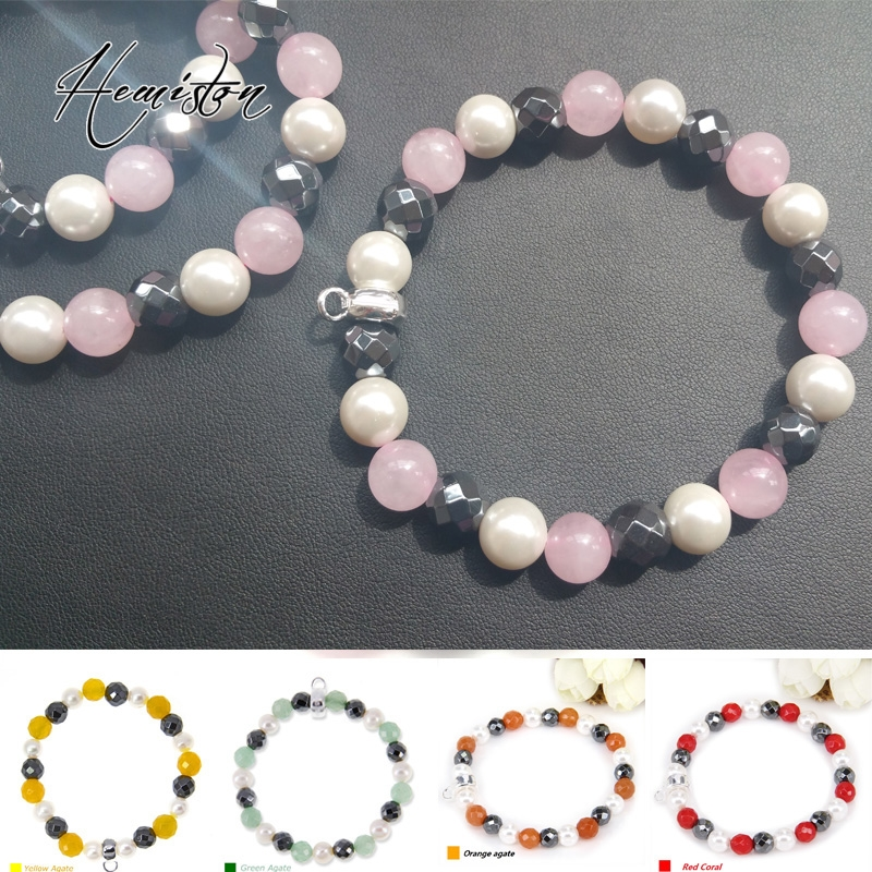 Thomas Style Pearl, Rose Pink Quartz, Hematite Beads Bracelet with a Branded Charm Carrier, Bijoux Jewelry Gift For Women TS 069