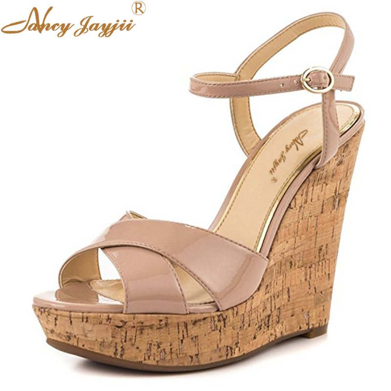 Cork Nude Black Wedge Sandal Women Shoes Patent Leather High Heel Ankle Strap Summer Party Causal Lady Size 45 46 Famous Brand apoepo fashion patent leather wedge sandal for woman super high ankle strap platform shoes rope braided buckle strap summer shoe