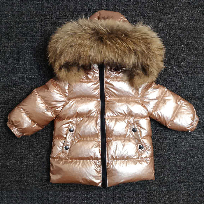 New Arrival Kids Clothes Girls Boys Gold Down Coat Children Warm Snowsuit Outerwear Clothing Fur Collar Hooded Thick Jacket 2-8Y