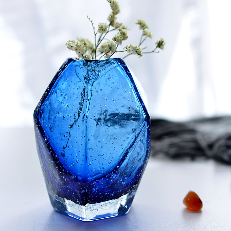 Blue Fashion Mini Handmade Colored Glass Vase For Decoration Home