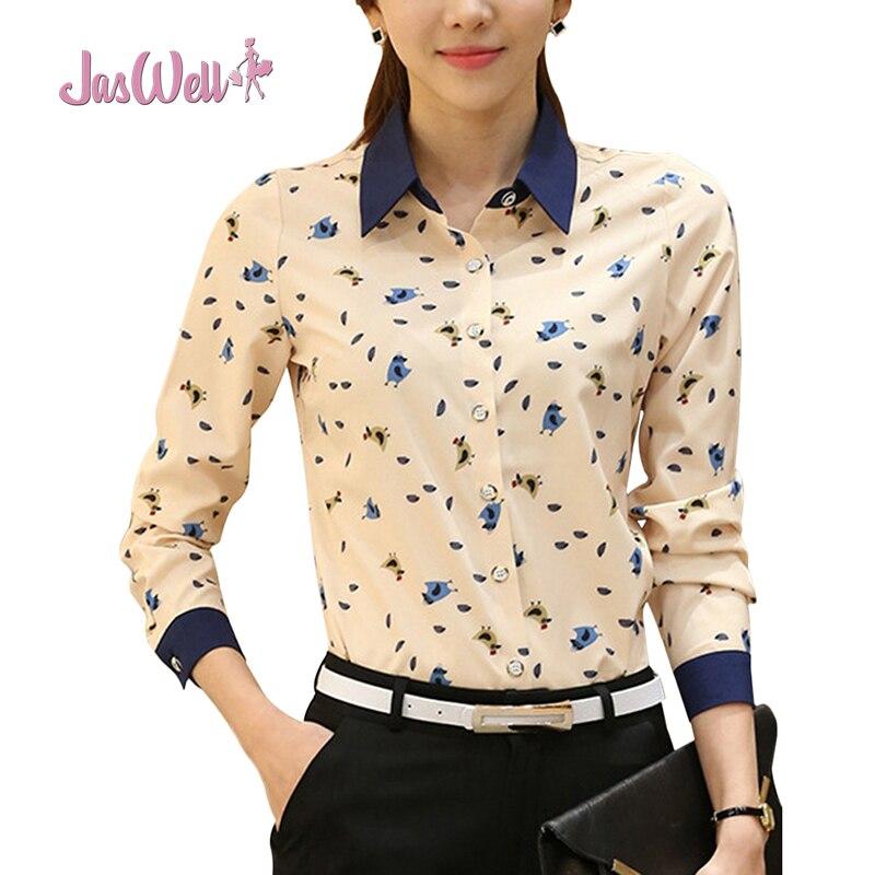 JasWell Kobiet Przycisk Dół Zwierząt Drukowane Koszula Z Długim Rękawem Bluzka Szyfonowa ścielenia Collor Formalna Biuro Odzież Koszula
