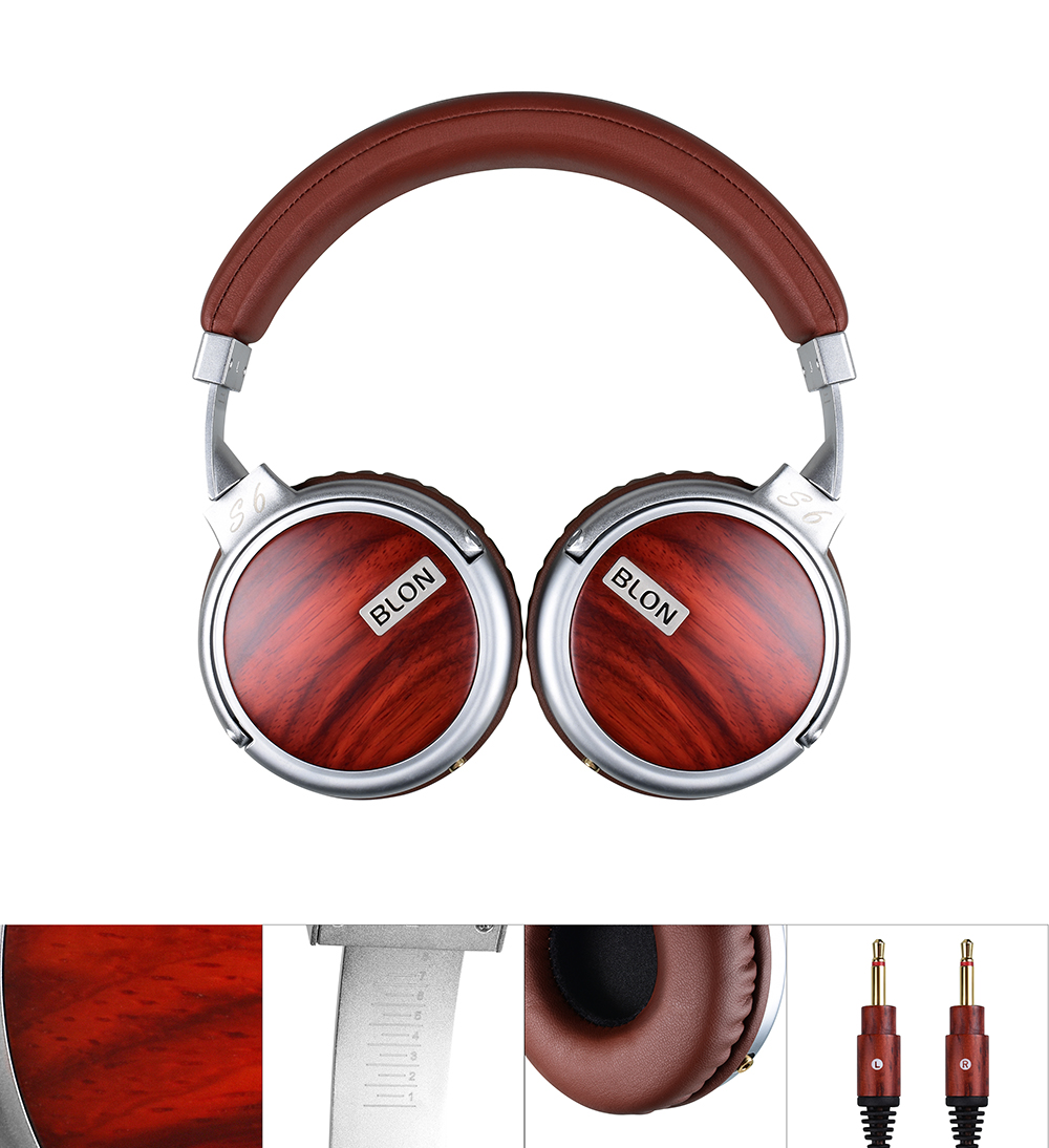 Blon S6 Wooden Stereo Dynamic 50mm Metal DJ Super Bass HIFI Headset Headphone Audio Earphone Over Ear Auriculares Earphone