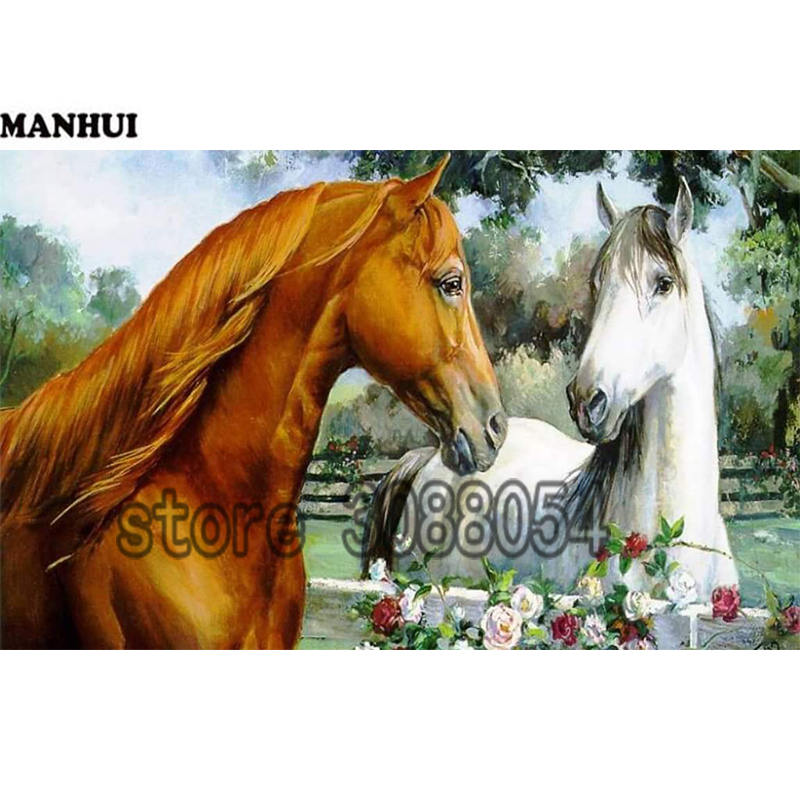 New 5D DIY Diamond Painting 2 Horses Diamond Painting Embroidered Mosaic Cross Stitch Decorative Crafts ADW262