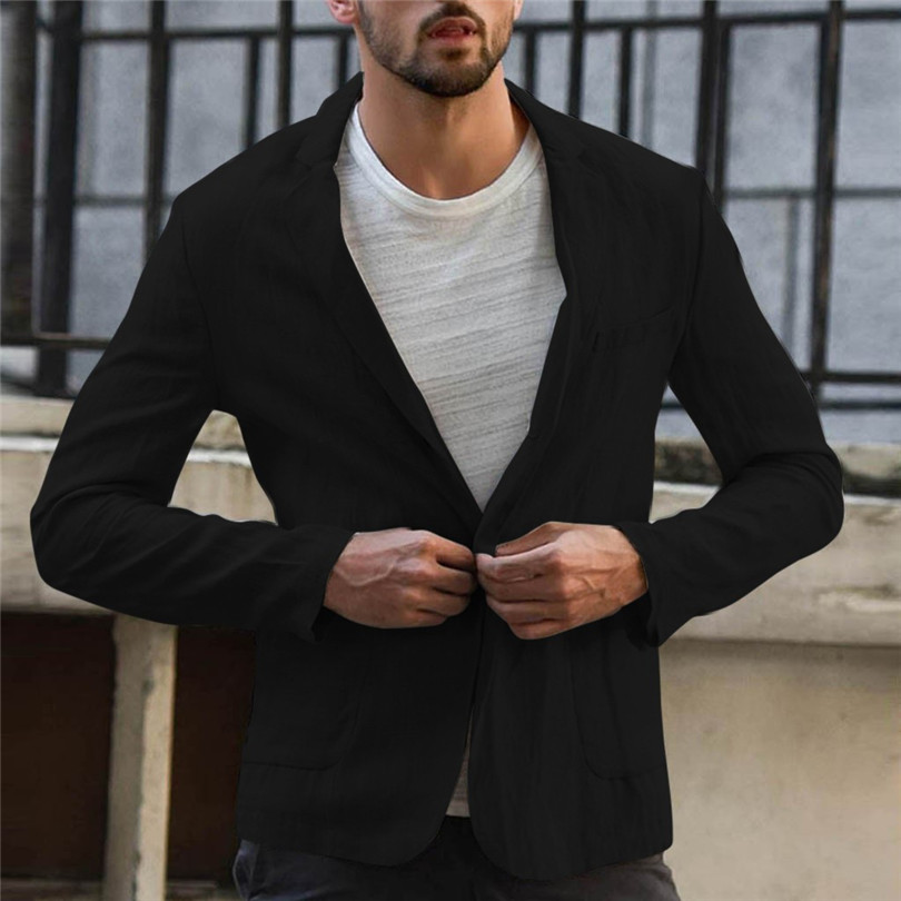 New 2019 Summer Men Slim Fit Linen Blend Casual Blazer Pocket Solid Long Sleeve Suits Blazer Jacket Outwear #E09 (6)