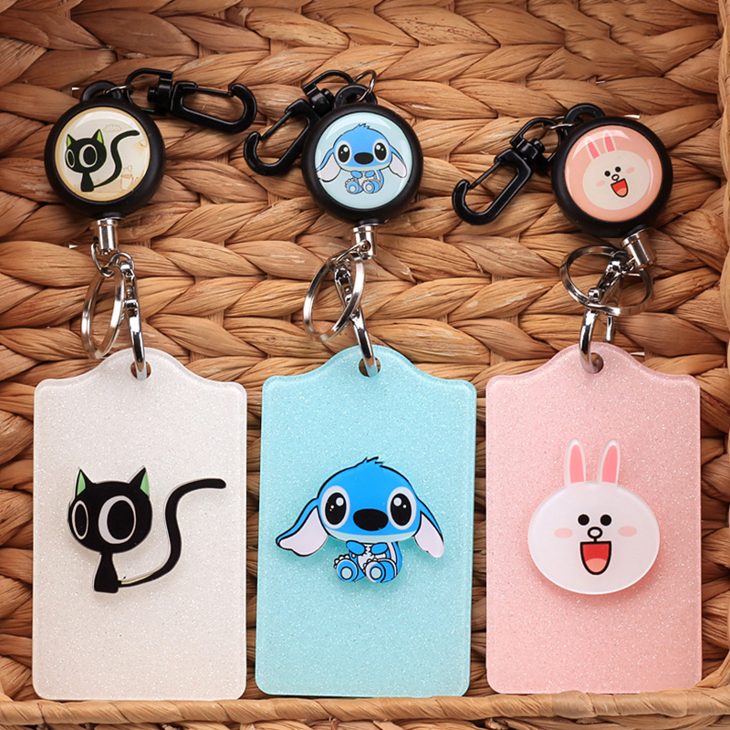 Cartoon Vertical Style Metal ID Badge Cute Cards Holder Name Kawaii Card Holders School Student Office Supplies kids Gift high quality 40mm metal reels crystal retractable id bus card badge holder reel 3pcs lot with metal clip