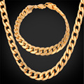 Fashion Kpop Bracelet Necklace Set New Year Party Men Jewelry Gift Trendy White Gold Plated Miami Cuban Chain Jewelry Set NH755