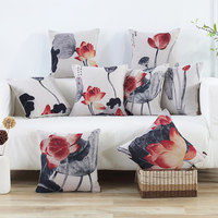 Chinese ink painting style fabric cotton pillow office lumbar pillow sofa pillow car cushion