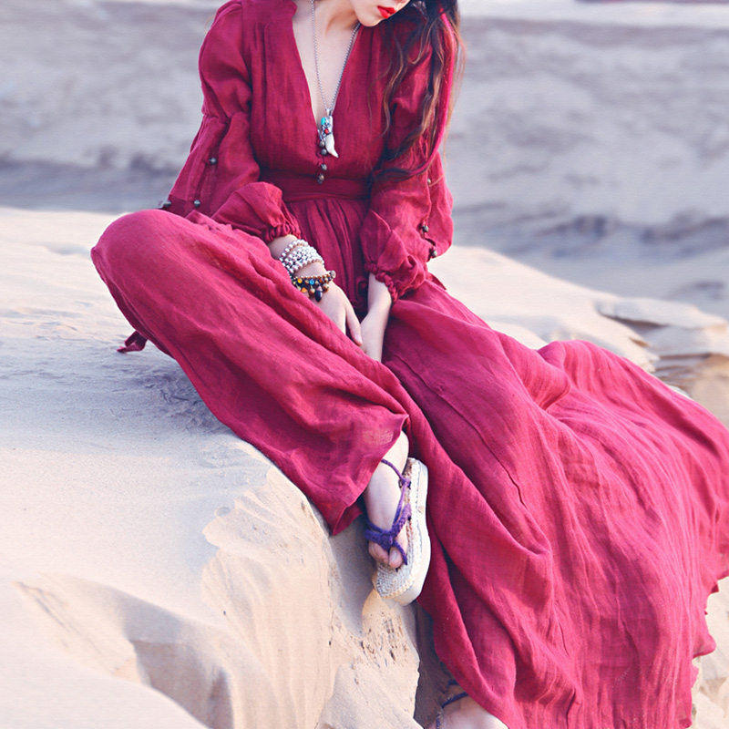 Khale Yose automne bohème robe à manches longues Vintage Hippie femmes Maxi robe Boho Chic gitane Folk fête plage longues robes 2019 - 3
