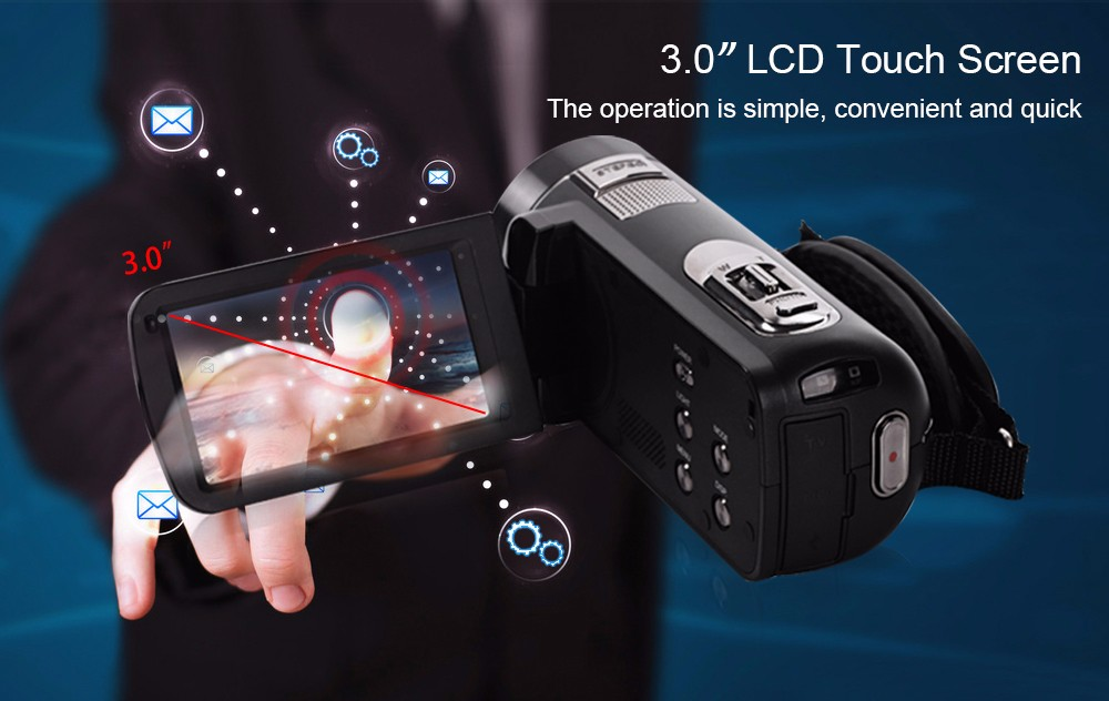 """Ordro Camcorder HDV-Z8 Plus 1080P FHD Digital Video Camera 3.0"""" LCD Touch Screen with Remote Control USB Port HDMI Output 8"""