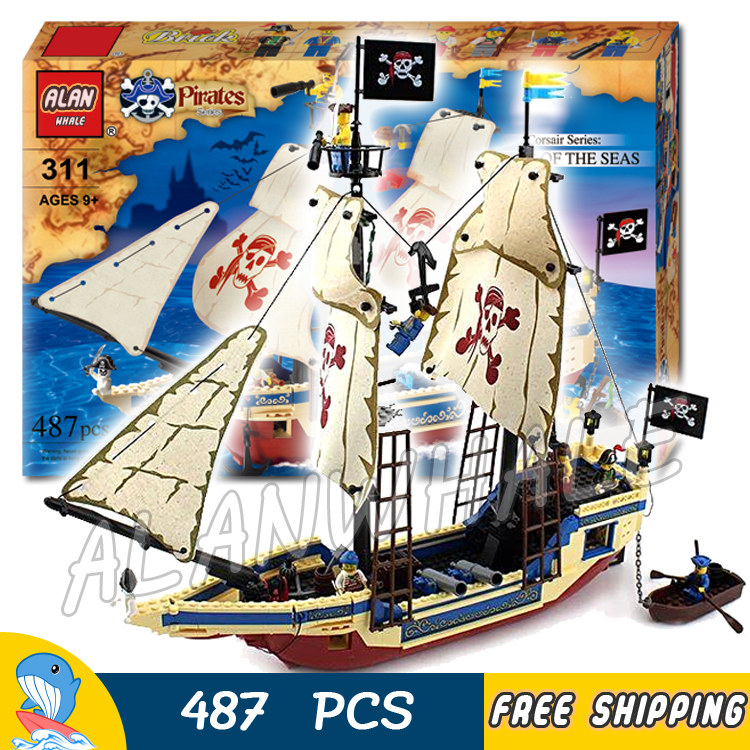 487pcs Pirates of the Caribbean King of The Sea 311 Pirate Ship Boat Model Building Blocks Kit Children Toy Compatible With lego compatible with lego 4195 models building toy 39008 1222pcs queen anne s revenge pirates of caribbean building blocks