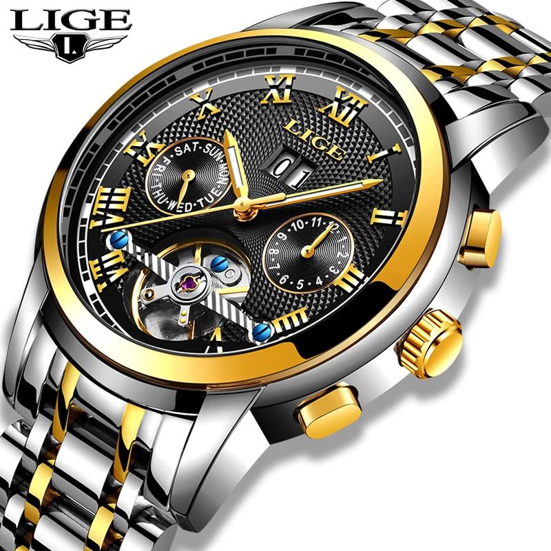 LIGE новый для мужчин смотреть спорт водостойкие автоматические механические часы нержавеющая сталь полые автоматические наручные часы ...