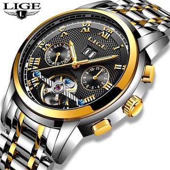 LIGE New Men's Watch Sport Waterproof Automatic Mechanical Stainless Steel Hollow Wrist Watches Horloges Mannen - discount item  90% OFF Men's Watches