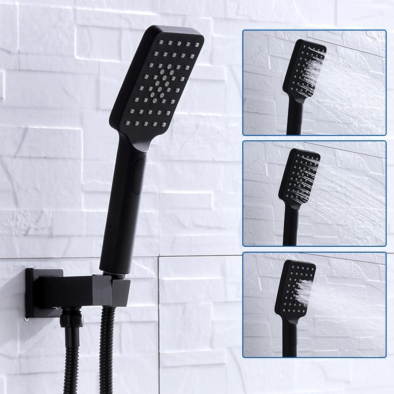 Black Shower Head 3 Function Water Saving Handheld Showers Grohe Rainfall Spray Shower Head Set Bathroom Doucha Chuveiro Rocas