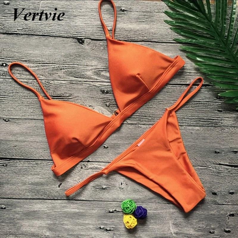 ceed1c592d968 Vertvie Swimwear Swimsuit Beach Biquini Bathing Suit Brazilian Thong Bikini  Set Sexy Solid Bikini Set Push