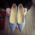 2015 ol fashion shoes pointed toe velvet sexy fashion flat shallow mouth single shoes nude color