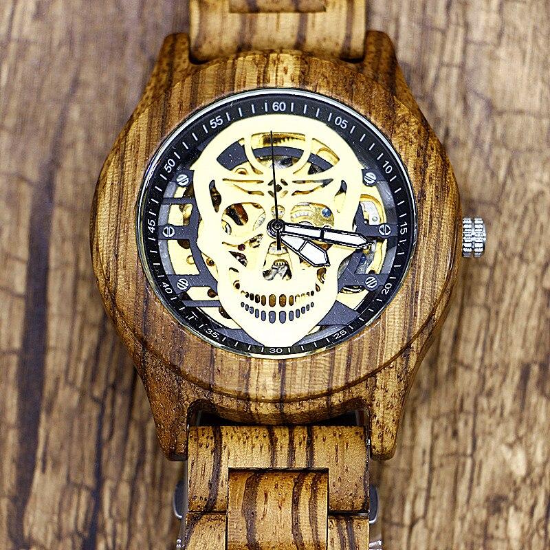 Men's Unique Skull Automatic Mechanical Wooden Watch Man Full Wood Strap Wristwatch Mens Gift Box relogio masculino эмаль вд ак 1179 перламутр серебристо белая вгт 0 23кг