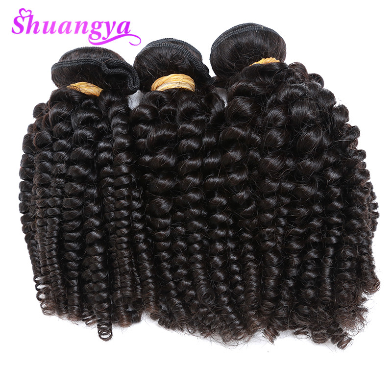 3 Bundles Funmi Hair Brazilian Bouncy Curly Hair Weaves 100% Human Hair Bundles Shuangya Remy Hair Can Be Dyed And Straighten