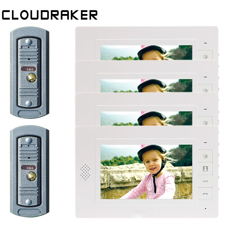 CLOUDRAKER 7 Inch Video Doorbell Intercom System 4x Monitor with 2x Pi Wired Door Phone CameraCLOUDRAKER 7 Inch Video Doorbell Intercom System 4x Monitor with 2x Pi Wired Door Phone Camera