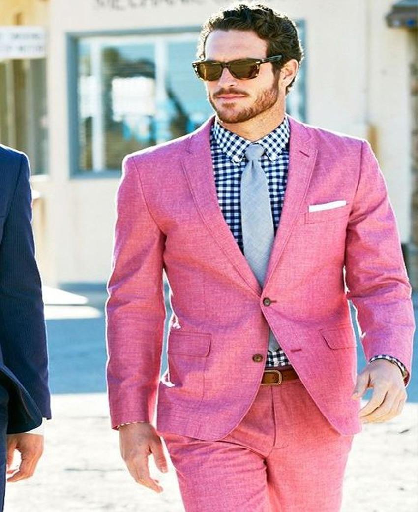 2018 New Design Pink Linen Beach Wedding Suits 2 Piece