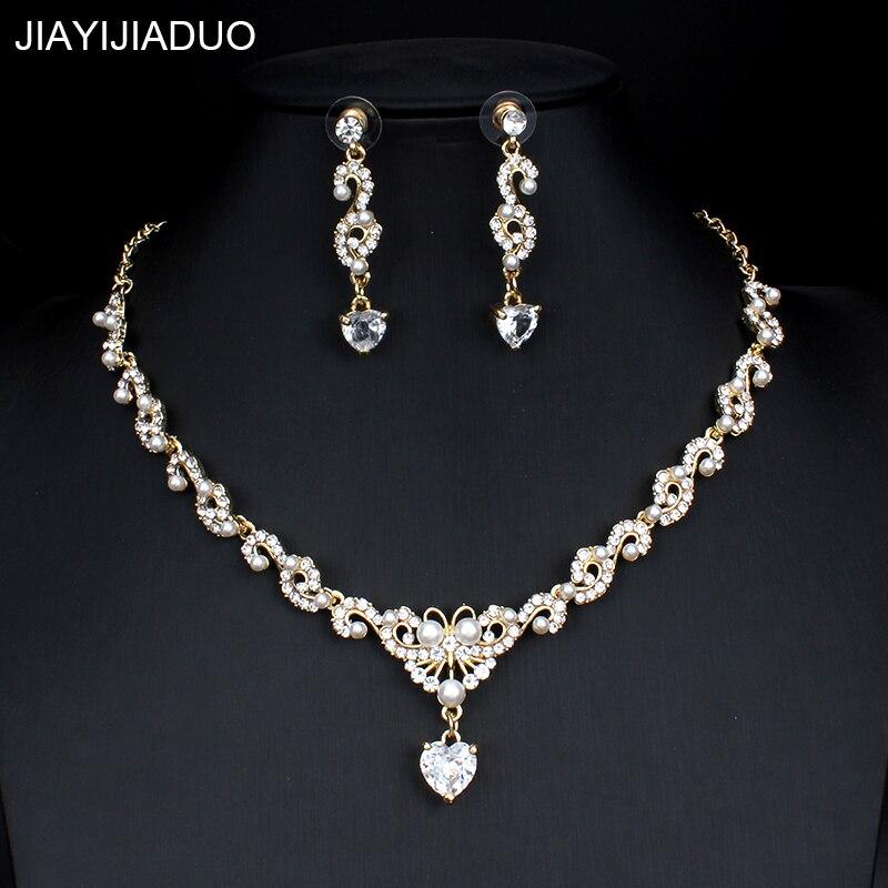 Jiayijiaduo Neue Braut Schmuck Set Für Glamour Frauen Hochzeit Kleider Zubehör Zirkon Halskette Ohrringe Set Gold Farbe Brautschmuck Sets