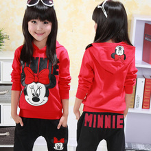 Baby Girls Clothing Sets Cartoon Minnie 2016 Autumn Winter Children' s Sweater Cotton Casual Tracksuits Kids Clothes Sports Suit