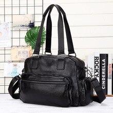 Large 100% Genuine Leather Travel Bag Men Cowhide Handbags Male Messenger Bags Mens Office Busienss