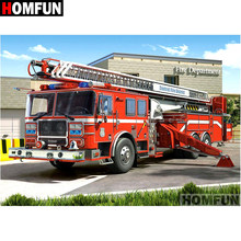 "HOMFUN Full Square/Round Drill 5D DIY Diamond Painting ""Fire truck"" Embroidery Cross Stitch 5D Home Decor Gift A07102(China)"