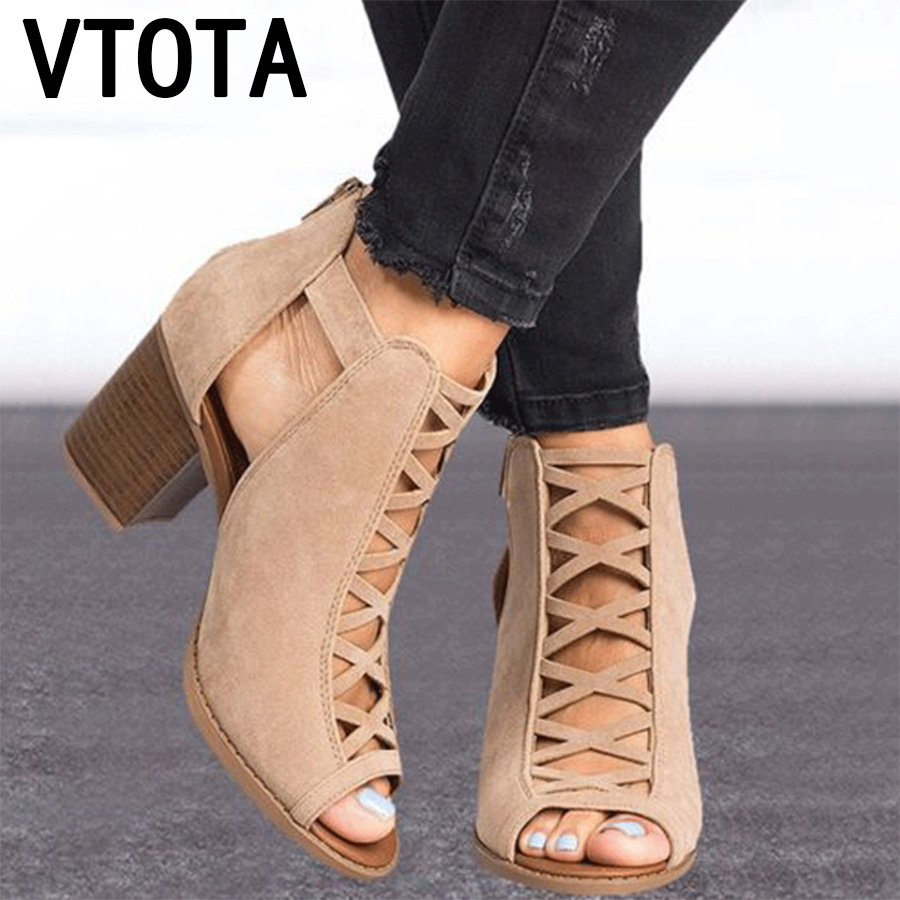 19e72828b5a VTOTA Summer Sandals Women 2019 New Block Heels High Heels Sandals Luxury Shoes  Women Designers Peep