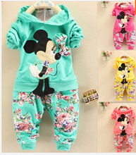 New 2016 Baby Girls Clothes Girl Clothing Sets Long Sleeve Minnie 7-24 Month Kids Coat + Pants Trousers 2pcs/lot Spring Autumn