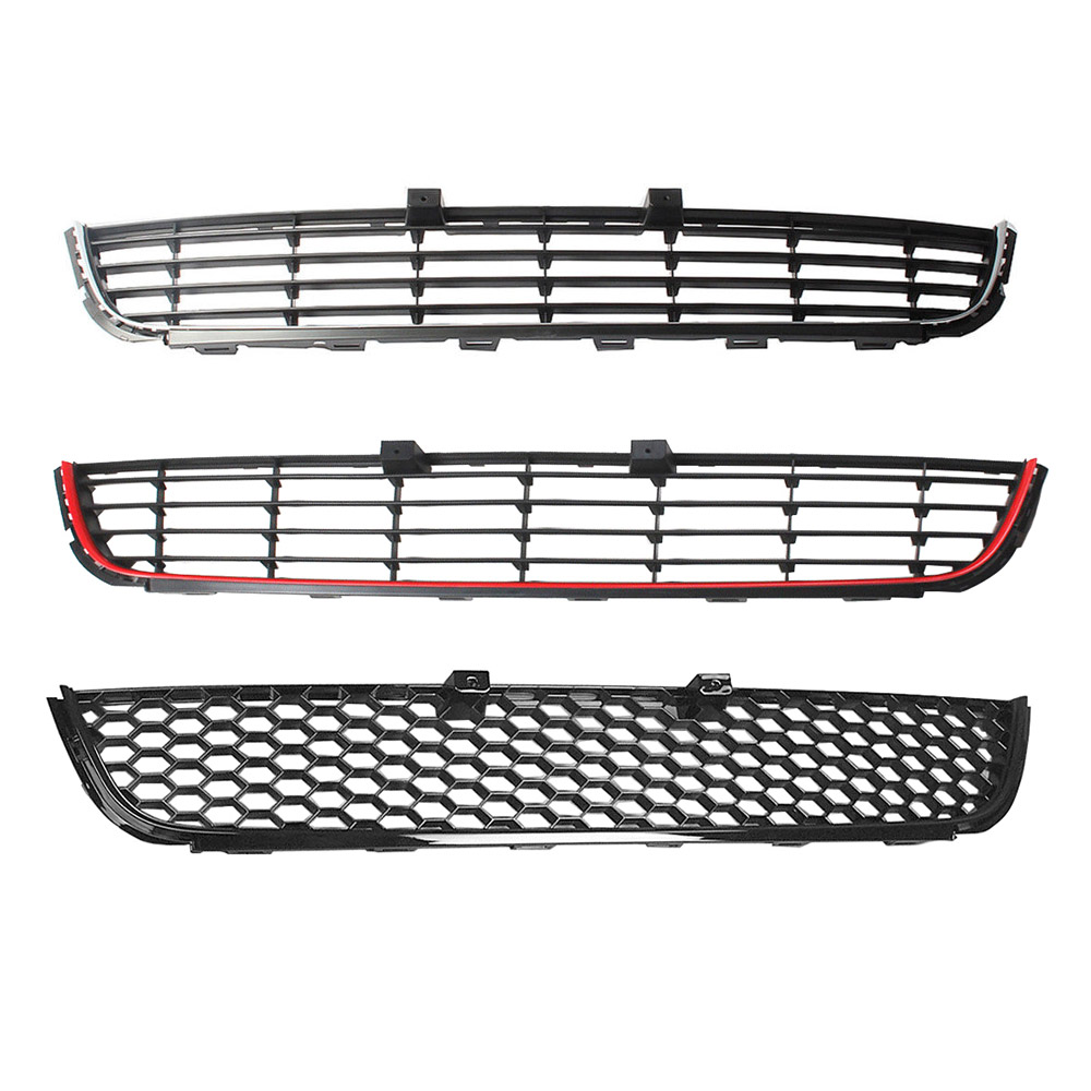 Chrome Black Red Decorative Strip Honeycomb Mesh Style Front Bumper Lower Grille Cover For VW Golf MK6 Not Fit GTI 5K0853677A for 10 14 vw golf tdi jetta mk6 honeycomb mesh lower front grille grill abs usa domestic free shipping hot selling